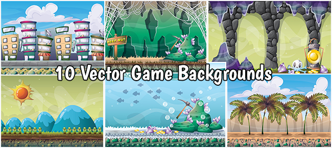 10 Vector Game Backgrounds