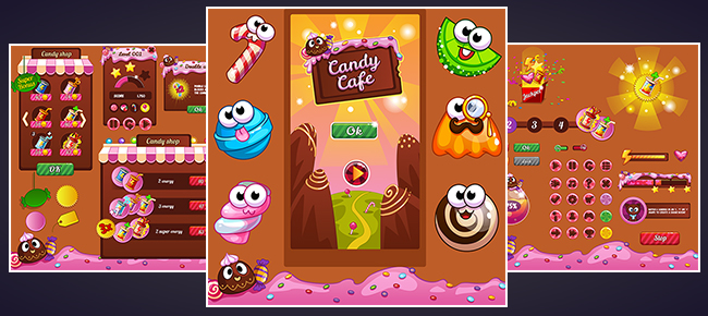 Candy Match3 Game GUI & Elements