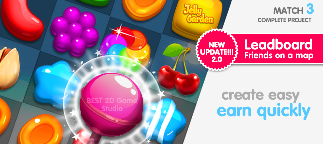 Jelly Garden Match 3 Complete Unity Project+EDITOR