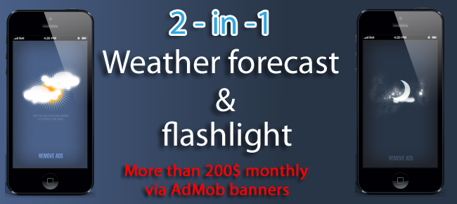 2-in-1 Weather and flashlight in 1 app