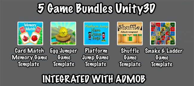 buy 5 games bundle unity3d with admob integration board and casual