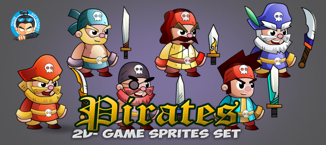 6- Pirate Game Character Sprites Set