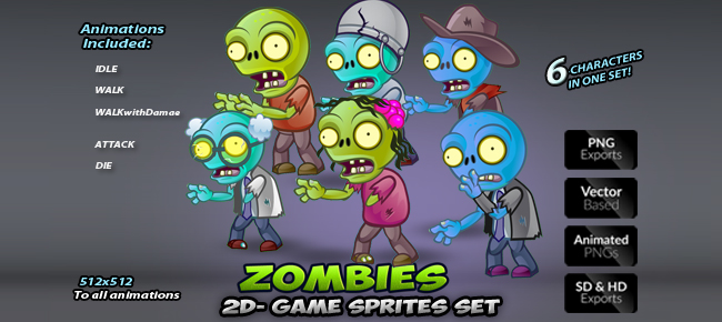 6-Zombies Game  Character Sprites Set