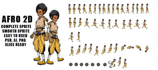 Afro 2d character and animation