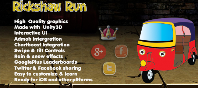 Android 3D Racing game Rickshaw Run source code
