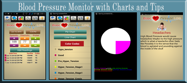 Blood Pressure Monitor with Charts and Ads