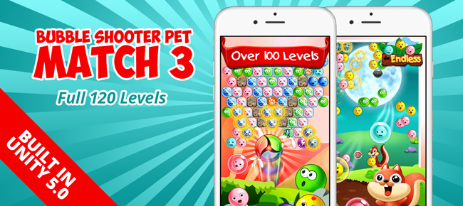 Bubble Shooter Pet Match 3: Full 120 Levels