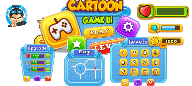 Cartoon Game Ui Set 12