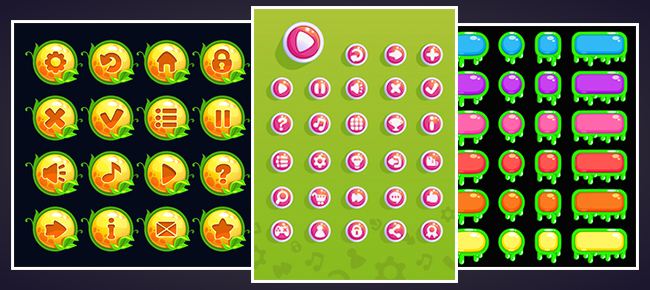 Colorful Game Buttons pack