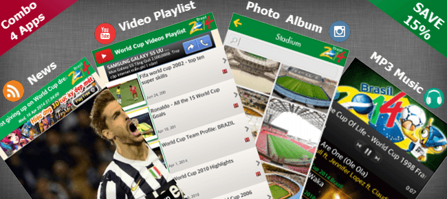 Combo 4 Android apps for World Cup 2014