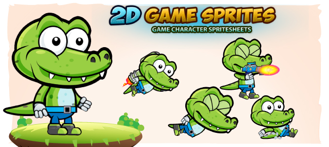 Crocodile 2D Game Character Sprites