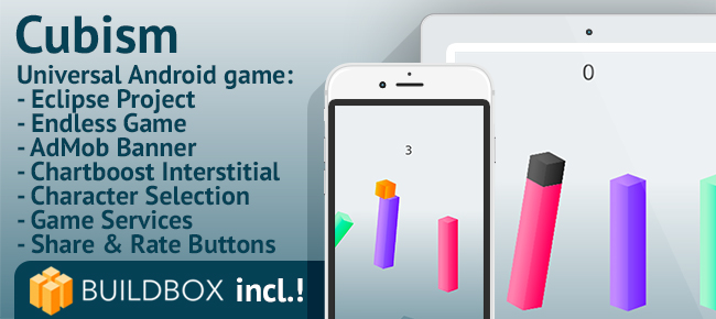 Cubism -Android Easy Reskin Game with BuildBox