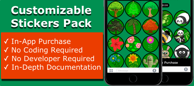 Customizable stickers pack with in app purchase