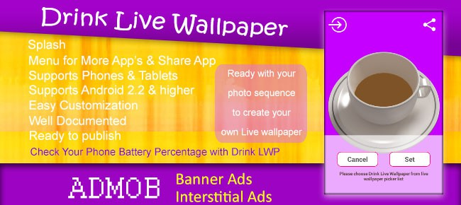 Drink Live Wallpaper with AdMob