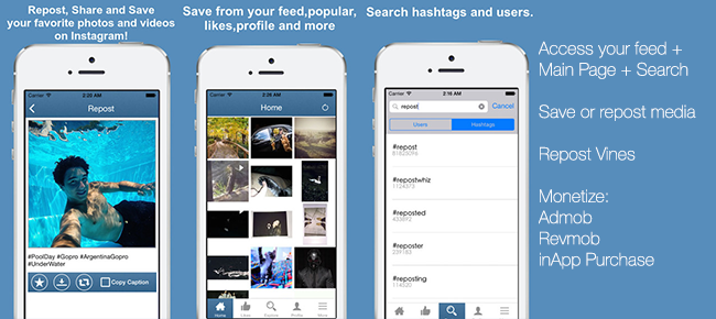Instagram Video and Photo Repost / Download App
