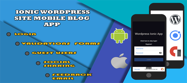 Ionic Wordpress site mobile blog app