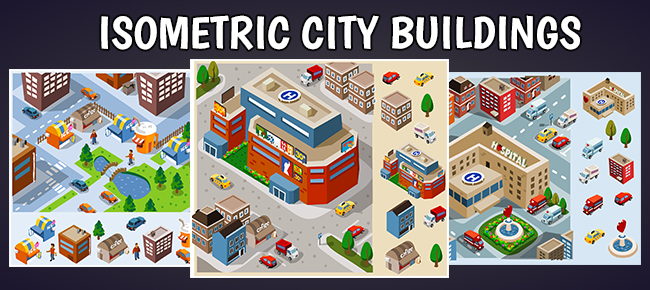 Isometric City 3d Vector Illustrations