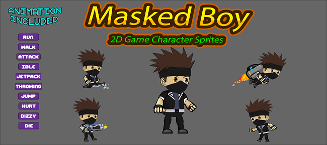 Masked Boy 2D Game Character Sprite