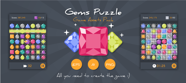 buy match3 gems puzzle game assets pack for ui graphic assets