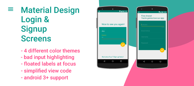 buy material design login amp signup screens for android