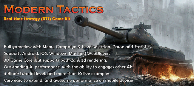 Modern Tactics, realtime strategy Unity game kit