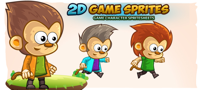 Monkey's 2D Game Character Sprites