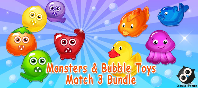 Monsters & Bubble Toys Match 3 Bundle