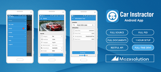Moza Car Intructor Android App Template