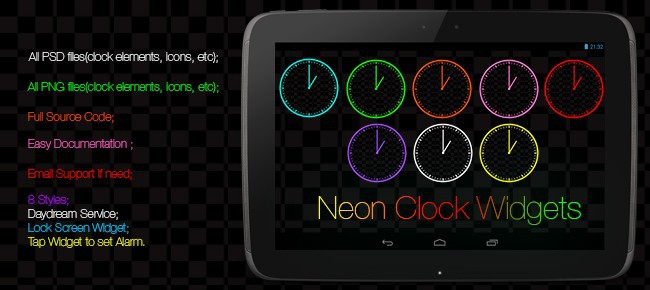 Neon Clock Widgets(Android Clock Widgets)