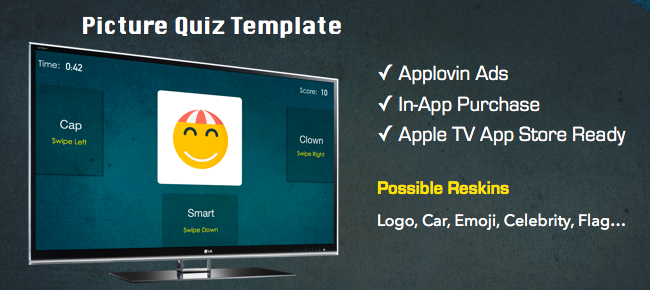 Picture Quiz App Template for Apple TV