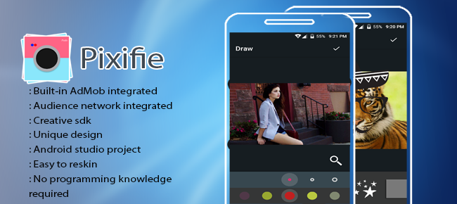 Pixifie photo editor for android with admob