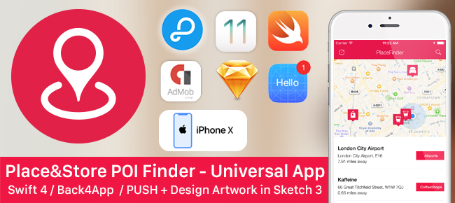 Place&Store Finder - Back4app + Push