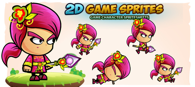 Plant Mage 2D Game Character Sprites