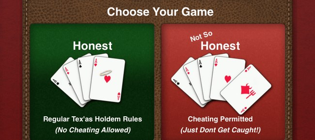 poker app with cheating functionality