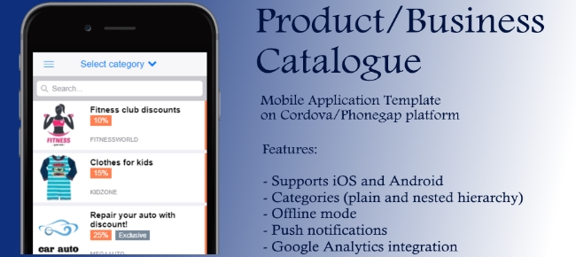 Buy Product Catalog Cordova App Template Business For Android - Phonegap templates