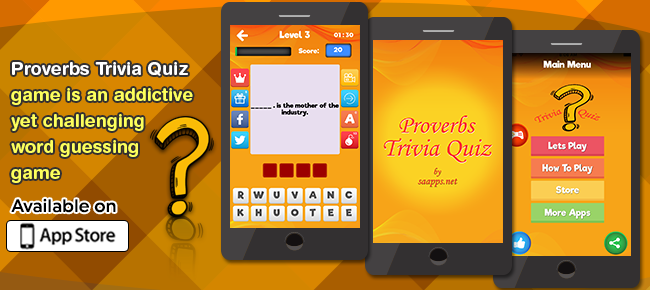 Proverbs Trivia Quiz, Word Guessing Game