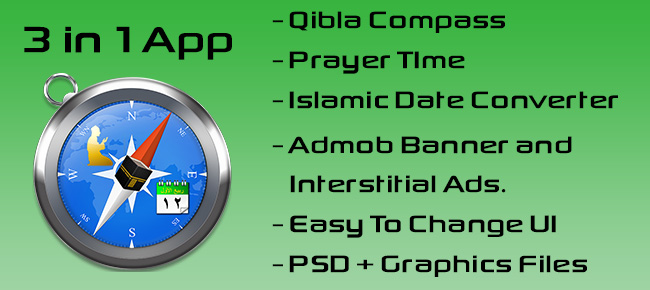Qibla Compass 3 in 1
