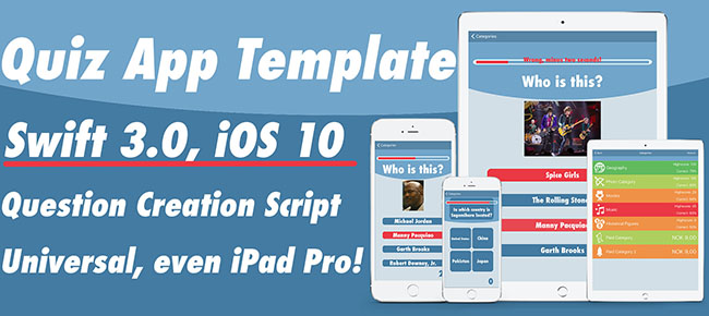 Quiz App Template for Swift 2.2 / iOS9