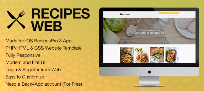 buy recipespro php web template for back4app food drink and