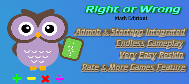 Right Or Wrong-Math Edition Admob/Startapp