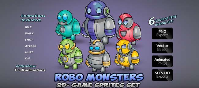Robo Monsters Game Enemies Sprites