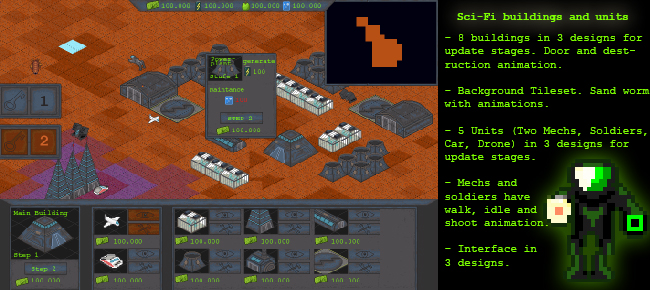 RTS Strategy Game 2d isometric Sci-fi Sprite Sheet