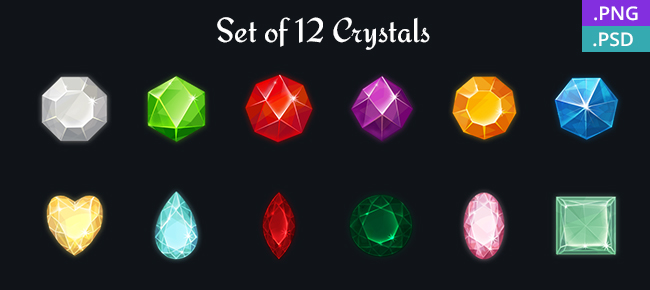 Set of 12 Crystals for Match-3 Game