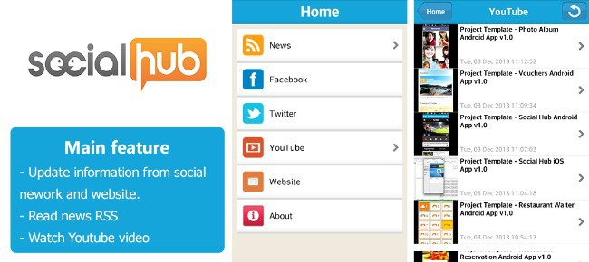 Social Hub App Template for Android