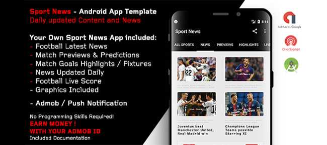Sport News - Football Android App Template (Admob/