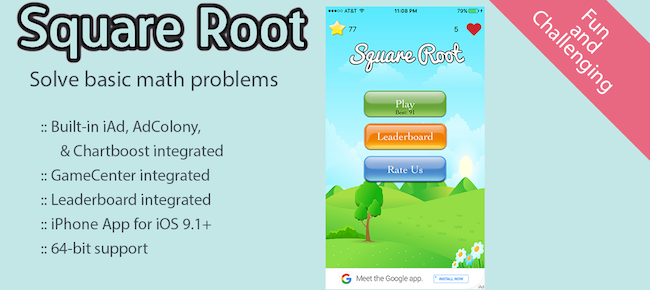 Buy Square Root - Math Game - Swift 2 Arcade and Educational For iOS ...