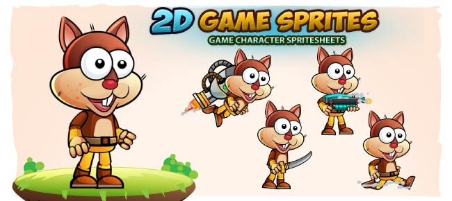 squirrel 2D Game Character Sprites