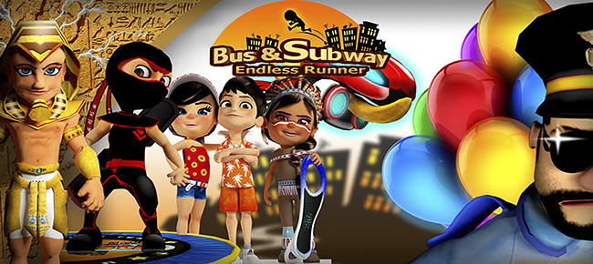 Subway Surfers and Bus Rush 2 combined like app