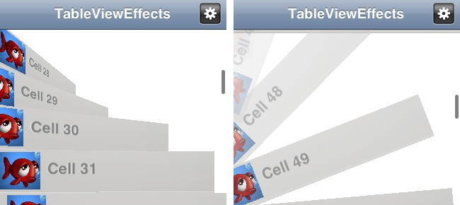 TableView Effects of rows