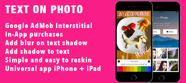 Text on Photo iOS Universal App Template